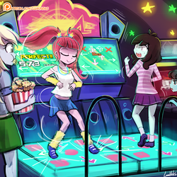Size: 750x750 | Tagged: safe, artist:lumineko, derpy hooves, pacific glow, sprout greenhoof, equestria girls, viva las pegasus, arcade, clothes, cute, dance dance revolution, dancing, equestria girls-ified, eyes closed, female, food, konami, las pegasus resident, leg warmers, midriff, muffin, open mouth, pigtails, pleated skirt, rhythm game, shoes, skirt, smiling, sneakers, socks, twintails, video game