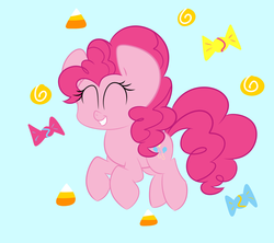 Size: 2280x2024 | Tagged: safe, artist:andreathehedgehog0, pinkie pie, candy, eyes closed, food, grin, smiling, solo