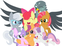 Size: 2592x1936 | Tagged: safe, artist:squipycheetah, apple bloom, babs seed, diamond tiara, gabby, scootaloo, silver spoon, sweetie belle, earth pony, griffon, pegasus, pony, unicorn, bloom and gloom, the fault in our cutie marks, adorababs, adorabloom, cute, cutealoo, cutie mark, cutie mark crusaders, diamondbetes, diasweetes, eyes closed, gabbybetes, happy, hug, looking at you, looking down, missing accessory, one eye closed, open mouth, raised hoof, silverbetes, simple background, smiling, spread wings, the cmc's cutie marks, transparent background, vector