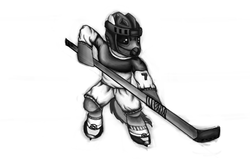 Size: 2246x1426 | Tagged: safe, artist:dkghost, generic pony, helmet, hockey, hockey helmet, hockey mask, hockey stick, ice skates, newbie artist training grounds, solo
