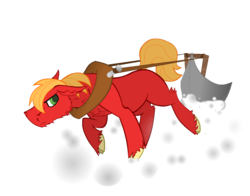 Size: 1344x1056 | Tagged: artist:ahaintthatbad, big macintosh, cloven hooves, earth pony, horse collar, male, newbie artist training grounds, plough, plow, pony, pulling, safe, snow, solo, stallion, working