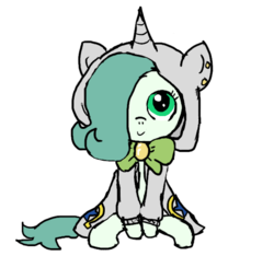 Size: 640x600 | Tagged: safe, artist:ficficponyfic, color edit, edit, oc, oc only, oc:emerald jewel, earth pony, pony, colt quest, alternate color palette, bowtie, c:, child, clothes, color, colored, colt, cute, cute face, cutie mark, ear piercing, femboy, foal, hair over one eye, hnnng, hoodie, horn, looking at you, looking up, male, piercing, sitting, smiling, solo, trap, weapons-grade cute