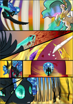 Size: 1087x1536 | Tagged: safe, artist:sevireth, princess celestia, oc, oc:nyx, alicorn, pony, comic:recollection, alicorn oc, blood, comic, horn, magic, throne room, tyrant celestia