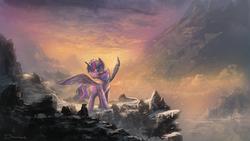Size: 1920x1080 | Tagged: dead source, safe, artist:shamanguli, twilight sparkle, alicorn, pony, female, newbie artist training grounds, scenery, snow, snowfall, solo, spread wings, twilight sparkle (alicorn)