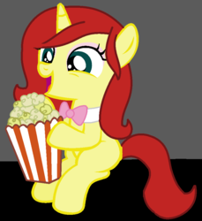 Size: 814x889 | Tagged: artist:thefanficfanpony, base used, food, oc, oc:licorice whip, oc only, offspring, open mouth, parent:flam, parent:fluttershy, parents:flutterflam, pony, popcorn, safe, sitting, smiling, solo, unicorn