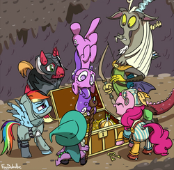 Size: 500x488   Tagged: safe, artist:foudubulbe, big macintosh, discord, pinkie pie, rainbow dash, screwball, spike, draconequus, dragon, earth pony, pegasus, pony, unicorn, dungeons and discords, armor, arrow, bard, bard pie, belt, bow (weapon), bow and arrow, captain wuzz, cave, clothes, dungeons and dragons, eyes closed, fantasy class, garbuncle, hat, key, male, ogres and oubliettes, open mouth, pants, race swap, rainbow rogue, rogue, roleplaying, sir mcbiggen, staff, stallion, treasure chest, unicorn big mac, upside down, wizard hat