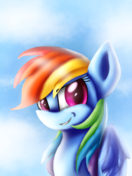 Size: 1536x2048 | Tagged: safe, artist:silviasilvar, rainbow dash, bust, double mane, faic, looking at you, portrait, smug, smugdash, solo