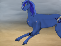Size: 1600x1200   Tagged: safe, artist:freeformedto, oc, oc only, oc:free form, pony, unicorn, amber eyes, cutie mark, ear tufts, ears, feather, furry, horn, long mane, looking, no tail, running, scar, shadhavar, shitty drawing, tattoo