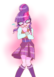 Size: 1238x1759 | Tagged: safe, artist:monon0, sci-twi, twilight sparkle, equestria girls, blushing, book, clothes, cute, glasses, moe, open mouth, pleated skirt, skirt, socks, solo