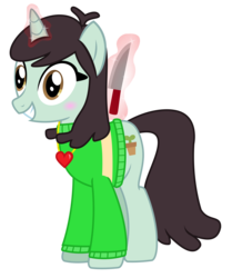 Size: 2700x3222 | Tagged: safe, artist:sketchmcreations, sprout greenhoof, viva las pegasus, chara, clothes, knife, las pegasus resident, locket, magic, simple background, sweater, telekinesis, this will end in death, transparent background, undertale, vector