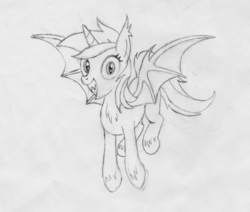 Size: 1965x1668 | Tagged: alicorn, alicornified, artist:horsesass, bat ponified, bat pony, grin, irrational exuberance, lyracorn, lyra heartstrings, monochrome, pony, race swap, safe, smiling, solo, traditional art