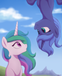 Size: 800x973 | Tagged: artist:akeahi, cute, cutelestia, duo, eye contact, frozen (movie), lunabetes, :o, princess celestia, princess luna, royal sisters, s1 luna, safe, sisters, smiling, upside down, younger