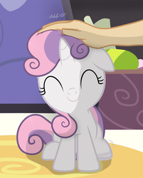 Size: 1597x1982 | Tagged: safe, artist:shutterflyeqd, sweetie belle, human, pony, unicorn, cute, diasweetes, eyes closed, female, filly, hand, hoof tapping, offscreen character, petting, scratch reflex, signature, smiling, weapons-grade cute