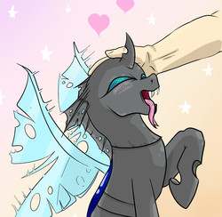 Size: 1744x1702 | Tagged: safe, artist:ponyjob, changeling, human, blushing, changeling pet, cute, cuteling, hand, happy, heart, open mouth, petting, pony pet, raised hoof, spread wings, tongue out