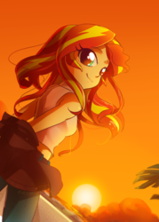 Size: 800x1120 | Tagged: safe, artist:kelsea-chan, sunset shimmer, equestria girls, clothes, cute, female, jacket, looking at you, looking back, looking back at you, pants, shimmerbetes, smiling, solo, sun, sunset, sunset shimmer day, tanktop