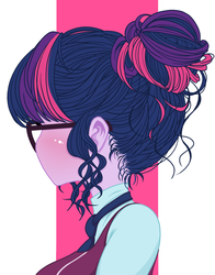 Size: 1100x1400 | Tagged: safe, artist:zat, sci-twi, twilight sparkle, equestria girls, friendship games, alternate hairstyle, away from viewer, blushing, bun, bust, clothes, crystal prep academy, crystal prep academy uniform, crystal prep shadowbolts, female, glasses, hair, hair bun, looking away, portrait, school uniform, simple background, solo