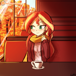 Size: 750x750 | Tagged: safe, artist:lumineko, sunset shimmer, human, equestria girls, autumn, clothes, coffee, cup, cute, female, humanized, lumineko is trying to murder us, patreon, patreon logo, plate, scarf, shimmerbetes, signature, smiling, solo, tree