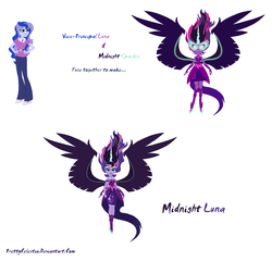 Size: 2048x1968 | Tagged: safe, artist:prettycelestia, princess luna, sci-twi, twilight sparkle, equestria girls, fusion, gem fusion, midnight sparkle, multiple arms, multiple eyes, vice principal luna