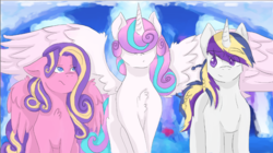 Size: 2140x1202 | Tagged: safe, artist:crystalpony32, princess flurry heart, princess skyla, oc, oc:silver shield, pegasus, pony, crystal sisters, offspring, older, parent:princess cadance, parent:shining armor, parents:shiningcadance, race swap