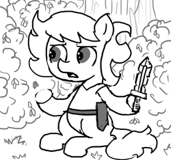 Size: 640x600 | Tagged: safe, artist:ficficponyfic, oc, oc only, oc:ruby rouge, earth pony, pony, colt quest, belt, bush, child, clothes, dagger, female, filly, foal, grass, knife, monochrome, shirt, solo, story included, talking, weapon
