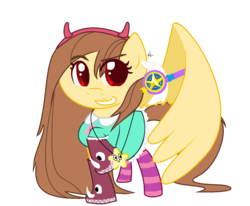 Size: 1216x1002 | Tagged: safe, artist:powerfluff, oc, oc only, oc:golden lily, pegasus, pony, clothes, cosplay, costume, crossover, socks, solo, star butterfly, star vs the forces of evil, striped socks