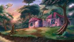 Size: 1920x1080 | Tagged: safe, artist:ruffu, abandoned, building, g1, no pony, overgrown, painting, paradise estate, probably haunted, ruins, scenery, scenery porn, sunset, tree, video at source, wallpaper