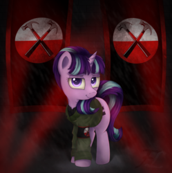 Size: 2240x2250 | Tagged: safe, artist:flufflelord, starlight glimmer, clothes, crossover, equal cutie mark, flag, implied hammers, looking at you, military uniform, pink floyd, smiling, solo, starlight himmler, the wall
