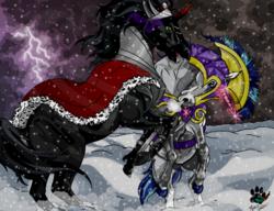 Size: 1023x784 | Tagged: safe, artist:flykatclassic, king sombra, lightning bolt, shining armor, white lightning, horse, the crystal empire, blizzard, fight, lightning, magic, male, realistic, rearing, scene interpretation, snorting, snow, snowfall, stallion