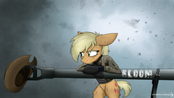 Size: 3200x1800 | Tagged: safe, artist:dangercloseart, applejack, applejack's hat, badass, blonde, clothes, cowboy hat, crossover, female, fury (movie), hat, hatless, m4 sherman, m4a3e8, missing accessory, solo, tank (vehicle), textless, weapon