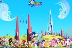 Size: 1800x1200 | Tagged: safe, artist:trungtranhaitrung, applejack, fluttershy, pinkie pie, princess cadance, princess flurry heart, princess luna, rainbow dash, rarity, shining armor, starlight glimmer, sunset shimmer, twilight sparkle, alicorn, chao, pony, amy rose, blaze the cat, cheese chao, cream the rabbit, crossover, crystal empire, fiona fox, knuckles the echidna, mane six, rouge the bat, sega, shadow the hedgehog, silver the hedgehog, solo, sonic the hedgehog, sonic the hedgehog (series), twilight sparkle (alicorn), video game