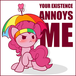 Size: 1125x1125   Tagged: safe, artist:symbianl, part of a set, pinkie pie, angry, annoyed, blushing, chibi, cute, diapinkes, digital art, female, hat, no nose, out of character, part of a series, pinkie pie is not amused, simple background, solo, symbianl's chibis, umbrella hat, unamused, when she doesn't smile, white background