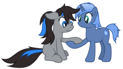 Size: 5440x3040 | Tagged: safe, artist:djdavid98, oc, oc only, oc:bluesparkks, oc:paamayim nekudotayim, pony, absurd resolution, floppy ears, group, holding hooves, sad, simple background, sitting, transparent background, vector