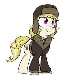 Size: 640x678 | Tagged: artist:shoutingisfun, clothes, coat, cute, female, hat, looking up, march gustysnows, mare, necktie, pony, safe, shirt, simple background, smiling, solo, ushanka, white background