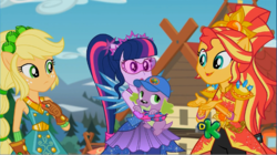 Size: 1606x902   Tagged: safe, screencap, applejack, sci-twi, spike, spike the regular dog, sunset shimmer, twilight sparkle, dog, equestria girls, legend of everfree, alternate hairstyle, cap, crystal guardian, discovery kids, female, geode of empathy, geode of super strength, hat, magical geodes, male, ponied up