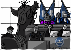 Size: 500x350   Tagged: safe, artist:dantheman, lady justice, queen chrysalis, swift justice, human, seal, fanfic:chrysalis visits the hague, alternate hairstyle, attorney, cap, chapter image, clothes, computer, computer mouse, court, courtroom, crime, desk, fanfic, fanfic art, fimfiction, fimfiction.net link, flag, french, glasses, guard, gun, hat, international criminal court, judge, judges, keyboard, lawyer, logo, nervous, peeved, pony on earth, rifle, robe, security guard, security officer, shadow, skeptical, smiling, trial, uniform, vest, weapon, window, worried
