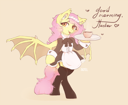 Size: 3319x2735 | Tagged: artist:dagmell, bat pony, clothes, dress, flutterbat, fluttershy, heart, maid, master, pony, race swap, safe, semi-anthro, solo, speech, tray