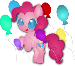 Size: 1024x907   Tagged: safe, artist:spophia, pinkie pie, balloon, female, rearing, solo