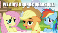 Size: 1280x720 | Tagged: safe, edit, edited screencap, screencap, applejack, fluttershy, rainbow dash, every little thing she does, applejack is a bad liar, bags under eyes, blatant lies, blushing, discovery family logo, drunk, drunk aj, drunker dash, drunkershy, image macro, looking at you, meme, messy mane, spoonerism, tired
