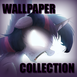 Size: 500x500 | Tagged: safe, artist:ncmares, edit, twilight sparkle, alicorn, pony, derpibooru, cover, female, meta, photoshop, solo, text, twilight sparkle (alicorn)