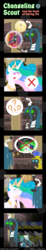 Size: 600x3263 | Tagged: safe, artist:vavacung, princess celestia, queen chrysalis, changeling, comic:changeling-scout, bandage, comic, pointy ponies, royal guard, this will end in jail time, this will end in pain