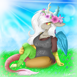 Size: 1000x1000 | Tagged: safe, artist:wintaura, discord, anthro, beautiful, busty eris, chaos, clothes, colorful, eris, field, flower, flower in hair, relaxing, rule 63, shirt, sitting, sky, snaggletooth, solo, sun, wings