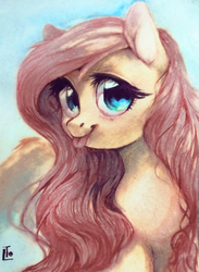 Size: 1325x1814 | Tagged: safe, artist:locksto, fluttershy, cute, female, looking at you, shyabetes, solo, tongue out, traditional art