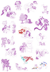 Size: 2560x3659 | Tagged: safe, artist:dstears, apple bloom, granny smith, gummy, pinkie pie, princess celestia, princess luna, rainbow dash, rarity, sci-twi, starlight glimmer, tank, trixie, twilight sparkle, twilight velvet, oc, oc:fausticorn, oc:red (transistor), alicorn, bear, earth pony, pegasus, pony, unicorn, :c, :t, adorable distress, adorabloom, alicorn oc, alternate hairstyle, angry, animal costume, beam, black vine, boots, box, box sawing trick, buzzsaw, cake, cewestia, chase, chu, circular saw, clothes, cloud, confetti, connect four, costume, couch, cross, crossover, crying, cute, cutie mark, diatrixes, dragging, dream, eyes closed, eyeshadow, female, fight, filly, flying, foal, food, frosting, frown, future twilight, glare, glasses, glimmerbetes, glowing horn, goggles, grin, gritted teeth, hair bun, hair dye, happy, hat, headset, heart, high heel boots, high heels, hoof hold, hug, lab coat, legs in air, levitation, lidded eyes, limited palette, looking at you, mad scientist, magic, magic trick, makeup, mane dye, mane swap, mare, miniskirt, mirror, newbie artist training grounds, one eye closed, open mouth, peeking, pigtails, pink-mane celestia, platform heels, pleated skirt, plot, pointing, ponified, prone, puffy cheeks, pull the lever kronk!, pun, rage, raribetes, ray gun, red (transistor), refrigerator, running, science, shoes, sign, simple background, sitting, sketch, sketch dump, skirt, sleeping, smiling, sneaking, space channel 5, spanish inquisition, spit take, sploot, spread wings, squee, stool, sword, table, telekinesis, the cmc's cutie marks, the emperor's new groove, thinking, thought bubble, thread, throwing, tongue out, transistor, twiabetes, ulala, unamused, underhoof, unicorn twilight, vine, wall of tags, weapon, white background, wide eyes, winghug, wings, wink, woona, worried, young granny smith, younger