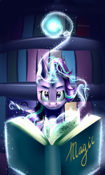 Size: 3000x5000   Tagged: safe, artist:electricluxray, starlight glimmer, pony, unicorn, every little thing she does, :3, absurd resolution, book, bookshelf, female, glow, glowing horn, levitation, looking at you, magic, mare, scene interpretation, smirk, solo, sparkles, spellbook, telekinesis
