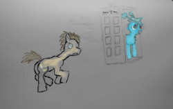 Size: 1024x649 | Tagged: safe, artist:starlight flux, artist:starlight-flux, artist:starlightflux, doctor whooves, time turner, oc, oc:starlight flux, original species, pony, doctor who, male, newbie artist training grounds, stallion, tardis