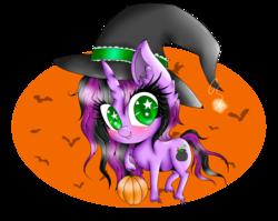 Size: 1280x1018 | Tagged: safe, artist:niniibear, oc, oc only, bat, pony, unicorn, blushing, chibi, cute, ear fluff, food, halloween, hat, pumpkin, smiling, solo, starry eyes, stars, unshorn fetlocks, wingding eyes, witch, witch hat