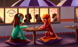 Size: 3584x2176 | Tagged: safe, artist:l1nkoln, oc, oc only, oc:laywing, oc:viridian, pegasus, pony, cafe, cake, commission, cup, drink, female, food, hoof on cheek, mare, night, sitting, table, umbrella