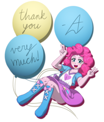 Size: 1200x1400 | Tagged: safe, artist:acesrockz, pinkie pie, equestria girls, balloon, blushing, boots, clothes, cute, diapinkes, female, high heel boots, high heels, looking at you, open mouth, peace sign, schrödinger's pantsu, simple background, skirt, skirt lift, smiling, solo, transparent background, upskirt