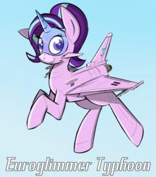 Size: 1500x1700 | Tagged: safe, artist:pandramodo, starlight glimmer, original species, plane pony, pony, aircraft, eurofighter typhoon, female, flying, plane, planeified, solo, species swap