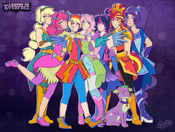 Size: 1407x1065 | Tagged: safe, artist:kikirdcz, applejack, fluttershy, pinkie pie, rainbow dash, rarity, sci-twi, spike, spike the regular dog, sunset shimmer, twilight sparkle, dog, equestria girls, legend of everfree, balloon, boots, clothes, crystal guardian, crystal wings, dress, high heel boots, humane seven, humanized, jewelry, ponied up, ponytail, shoes, sneakers, sun, wings